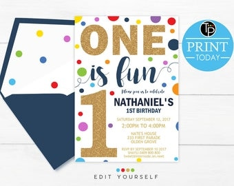 Confetti BOY 1st Birthday INVITATION, Instant Download, Confetti 1st Birthday Invitation, Boy First Birthday Invitation, primary colors