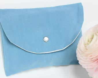 Small blue wash bag, pouch to organize her handbag - blue oil - made from old fabric