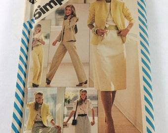 Simplicity Sewing Pattern 6364 Misses Skirt, Straight leg pants, Blouse and Lined Jacket Size 14