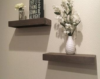 Set of 2 Rustic Floating Shelves  - Medium -   (floating shelf, kitchen shelf, wood shelves, shelf, shelves)