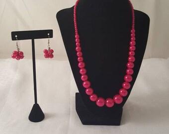 Hot Pink Pearl Jewelry Set - Pink Pearl Jewelry Set - Pearl Jewelry Set - Hot Pink Jewelry Set - Pink Jewelry Set - Pearl Necklace - Pink
