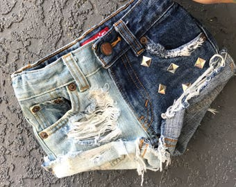 TOO FACED baby girl toddler destroyed distressed deconstructed bleached studded denim jeans shorts