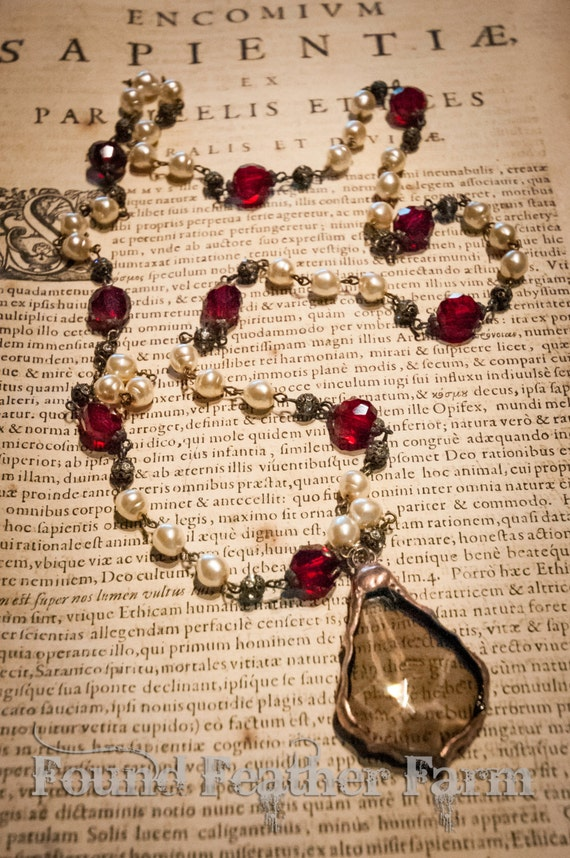 Handmade Soldered Baroque Crystal Pendant on a Beaded Antique Brass Pewter Finished Chain with Faceted Red Crystals and Faux Creme Pearls