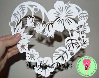 Flower frame paper cut svg / dxf / eps files and pdf / png printable template for hand cutting. Digital download. Small commercial use ok.