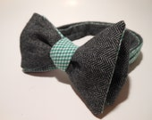 Dark Grey Herringbone Reversible and Green Fine Plaid Bow Tie