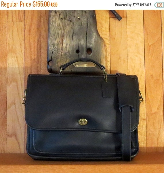Football Days Sale Coach Colebrooke Letter Sized Black Leather Briefcase Attache Messenger Bag Laptop IPad Carrier- Excellent Used Condition