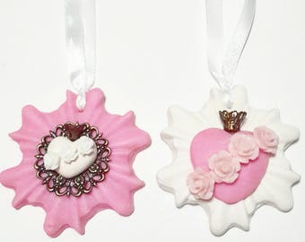 Set of two handmade Sacred Heart Milagro ornament, White + Pink,Christmas, Catholic Immaculate Heart