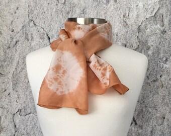 Handdyed scarf, Silk scarf, plant dyed scarf, Madder Root, Shibori scarf, botanical scarf, eco dyed scarf