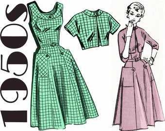 "Vintage Sundress Bolero Jacket 1950s Dress and Jacket MAIL ORDER 3003 bust 37"" Summer Dress Pattern Short Sleeve Jacket Crop Jacket Pattern"