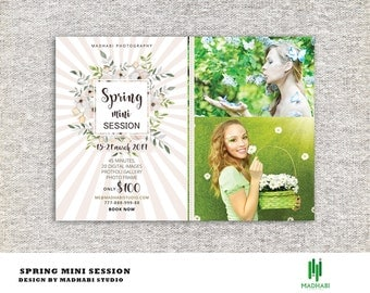 Spring Mini Session Template, Photography Template, Mini Session Marketing,  Photography Marketing, Photoshop & Elements | INSTANT DOWNLOAD