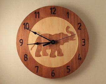Pine elephant clock Animal clock Wildlife clock Safari clock Wood clock Wall clock Wooden wall clock Zoo decor Lucky elephant Kid's room