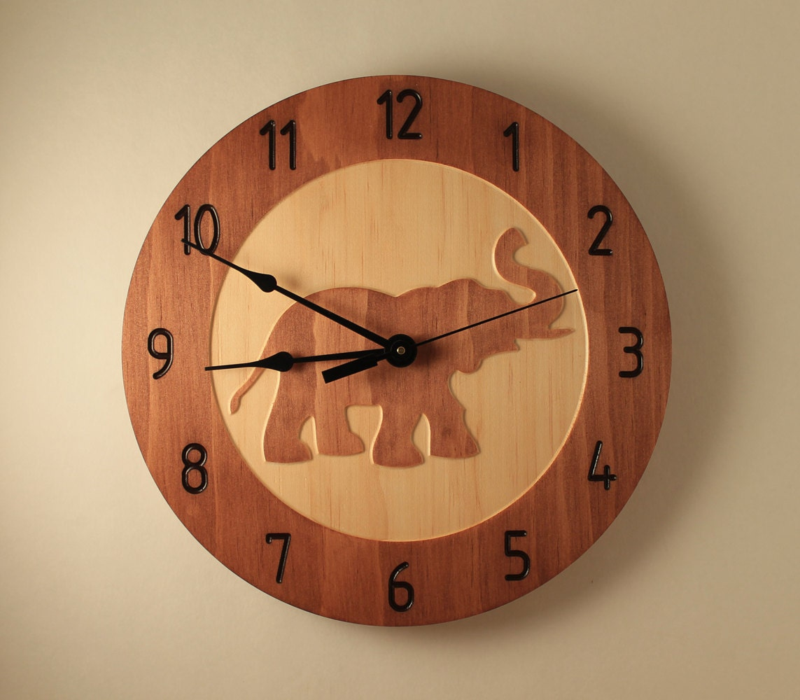 Pine Elephant Clock Animal Clock Wildlife Clock Safari Clock