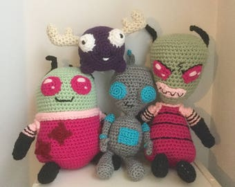 SALE--Space Invader Set with Green Alien, Robot, Purple Moose, and Short Alien Plush--FREE shipping