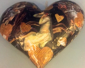 black and gold heart, collage heart
