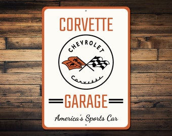 Corvette Garage Sign, Corvette Gift, Corvette Decor, Corvette Logo Sign, Corvette Sign, Custom Chevy Sign - Quality Aluminum Sign ENS1002683