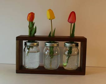 Solid Walunt Jar Vase Box.  Three pint jars included.