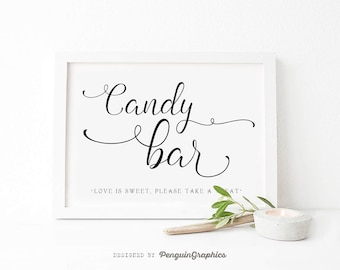 Wedding sign. Wedding print. Wedding candy bar sign. Wedding & party deco poster. Candy bar print. Digital file for instant download. WS001C