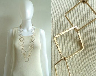 70s geometric chain link necklace, gold metal chunky statement necklace, minimalist 1970s vintage necklace, costume jewelry, jewellery