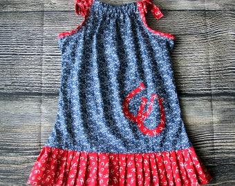 Pillow Dress, Cowgirl Dress, Summer Girls Dress 3/4 Toddler Dress Size