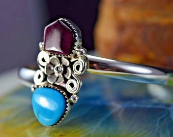 Sterling silver Navajo crafted Sleeping Beauty Turquoise and purple Spiny Oyster cuff style bracelet