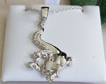 """Silver Dragon Fantasy Necklace with 2"""" extender chain, Swarovski crystal clutch - Necklaces Fantasy Pendant Necklace Cosplay Jewelry"""
