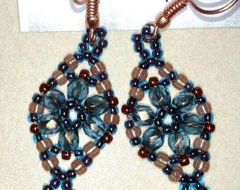 Smokey Blue Victorian Lace Earrings