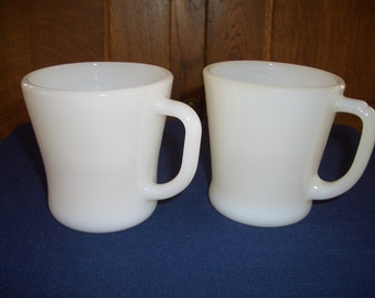 Two Vintage White Mugs...Federal Glass...Anchor Hocking Fire King