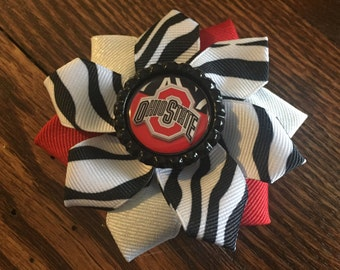 Ohio State Buckeyes Flower Hair Bow