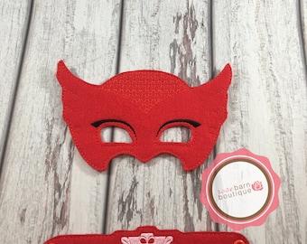Owlette Mask and Bracelet Set, Owl Mask, PJ Mask Set, PJ Mask, Felt Mask, party Favor
