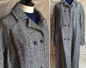 Shiny navy blue and white wool winter coat vintage 1950s 1960s 50s 60s mad men