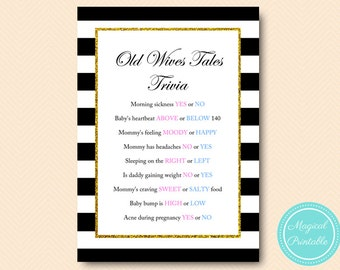 Old Wives Tales Gender Reveal Game, Gold Glitter, Shabby Chic Printable Baby Shower Games, Black and Gold Baby Shower Games TLC135 TLC04