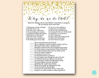 Gold Why do we do that, tradition game, wedding tradition game, Why we do that, Gold Confetti Bridal Shower, Bachelorette Games BS46