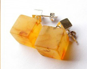 Amber Earrings HONEY, sterling  Silver 925, transparent, matt, modern, New, bltic amber,  Unique