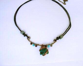 Rustic, tribal, bohemian, gemstone, chrysocolla, copper,goddess,  necklace
