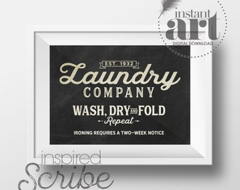 Laundry Company vintage style laundry room sign instant digital download print art for the laundry room