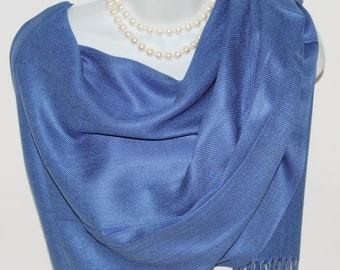 Blue Pashmina Scarf.Blue Denim Pashmina/Shawl.Spring/Summer Scarves. Silk/Pashmina Scarves.Blue Evening Wrap /Shawl.Wedding Shawl/Wrap