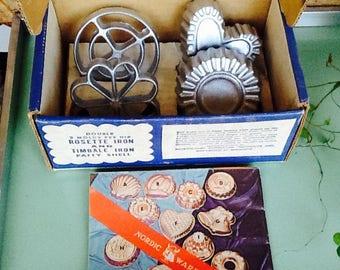 Double rosette iron set, original box