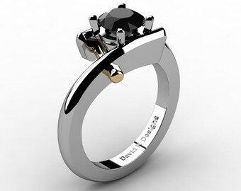 Modern French 14K Two Tone White And Yellow Gold 1.0 Ct Black Diamond Engagement Ring R1100-14KWYGBD