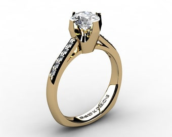 Modern Russian 14K Yellow Gold 1.0 Carat White Sapphire Diamond Solitaire Engagement Ring R1122-14KYGDWS