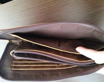 Vintage brown leather wallet zipper card holder, Purse phone convenient large folding, Purse travel long wallet leather clutch