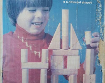 PLAYSKOOL, Building Blocks with Original Box (36) Natural Wood Blocks, Square, Pillar, Column, Half Column, Diagonal and Rectangle, 1982.