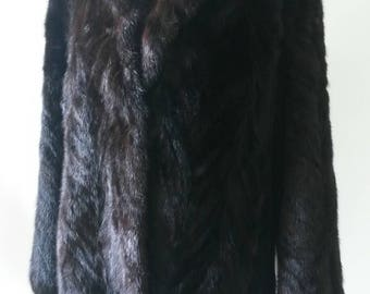 Dark Brown Nearly Black Real Mink Fur Jacket. Herringbone 60s Coat in Excellent condition, relined.
