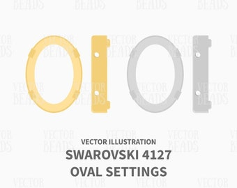 Oval Fancy Stone Setting 4127 Vector Illustration - ai, eps, pdf, png