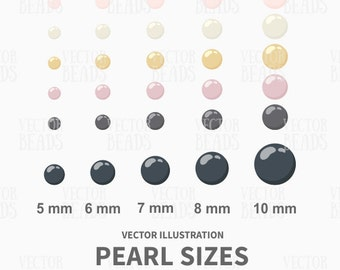 Pearl Sizes Vector Clip art Pack for Creating Beading Diagrams - ai, eps, pdf, png