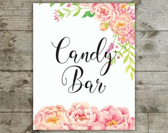 Candy bar, Candy bar peony sign, Candy bar floral sign, Baby shower, Bridal shower, Table sign, pink peony table