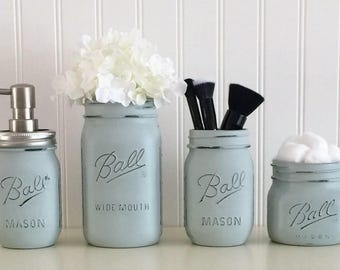 Bathroom Vanity Jars makeup brush holders rose gold mason jars makeup organizer