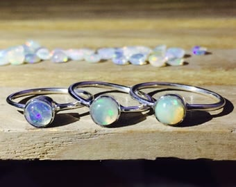Natural Opal Ring 925 - Stacking Ring - Fire Opal Ring - Ethiopian Opal Ring - October Birthstone Ring