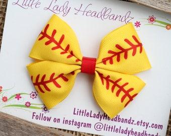 Softball Bow Girls Softball Bow Baseball barrette Boutique Bow Pinwheel Bow Girls Hair Bow ribbon bow