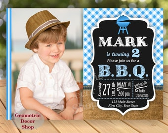 BBQ Birthday Party Invitation Blue Plaid Invite Rustic 1st Birthday Boy Girl Neutral Burlap denim barbecue barbeque Photo Photograph BDBBQ6