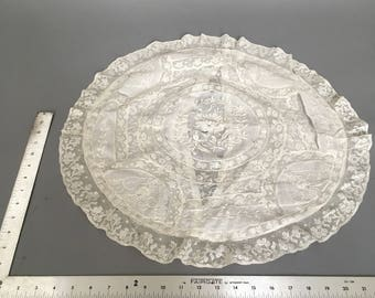 Huge Round antique normandy lace pillowcase with hand done whitework
